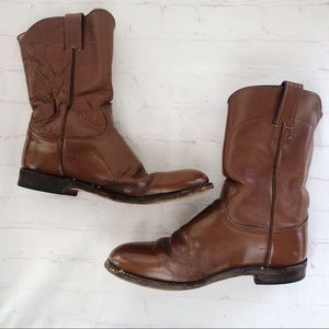 [Justin] Brown leather western roper boot 8.5D